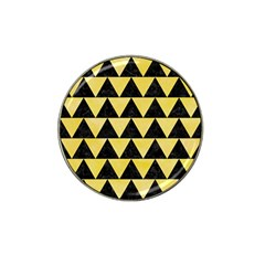 Triangle2 Black Marble & Yellow Watercolor Hat Clip Ball Marker by trendistuff