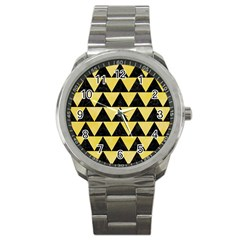 Triangle2 Black Marble & Yellow Watercolor Sport Metal Watch by trendistuff