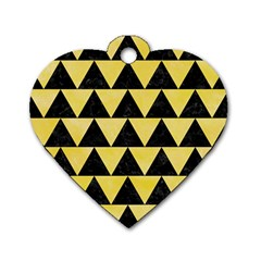 Triangle2 Black Marble & Yellow Watercolor Dog Tag Heart (one Side) by trendistuff