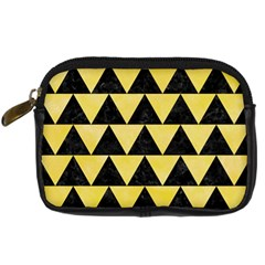 Triangle2 Black Marble & Yellow Watercolor Digital Camera Cases by trendistuff