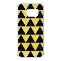 Triangle2 Black Marble & Yellow Watercolor Samsung Galaxy S7 White Seamless Case by trendistuff
