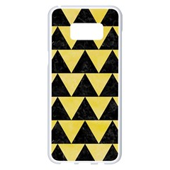 Triangle2 Black Marble & Yellow Watercolor Samsung Galaxy S8 Plus White Seamless Case by trendistuff
