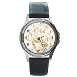 Pastel Roses Antique Vintage Round Metal Watch