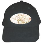 Pastel Roses Antique Vintage Black Cap