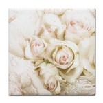 Pastel Roses Antique Vintage Tile Coasters