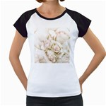 Pastel Roses Antique Vintage Women s Cap Sleeve T
