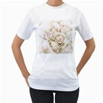 Pastel Roses Antique Vintage Women s T-Shirt (White) (Two Sided)