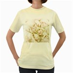 Pastel Roses Antique Vintage Women s Yellow T-Shirt