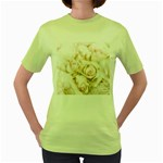 Pastel Roses Antique Vintage Women s Green T-Shirt