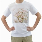 Pastel Roses Antique Vintage Men s T-Shirt (White) (Two Sided)