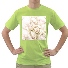 Pastel Roses Antique Vintage Green T Shirt