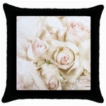 Pastel Roses Antique Vintage Throw Pillow Case (Black)