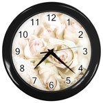 Pastel Roses Antique Vintage Wall Clocks (Black)