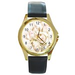 Pastel Roses Antique Vintage Round Gold Metal Watch