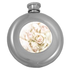 Pastel Roses Antique Vintage Round Hip Flask (5 Oz)