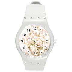 Pastel Roses Antique Vintage Round Plastic Sport Watch (m)