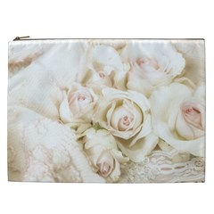 Pastel Roses Antique Vintage Cosmetic Bag (xxl)