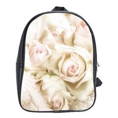 Pastel Roses Antique Vintage School Bag (xl)
