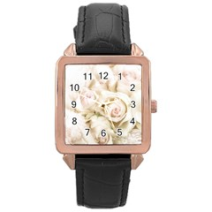Pastel Roses Antique Vintage Rose Gold Leather Watch  by Celenk