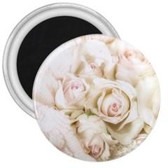 Pastel Roses Antique Vintage 3  Magnets by Celenk