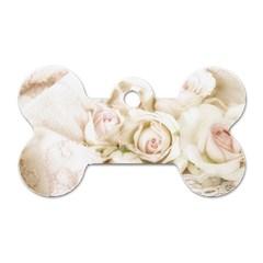 Pastel Roses Antique Vintage Dog Tag Bone (two Sides) by Celenk