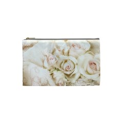 Pastel Roses Antique Vintage Cosmetic Bag (small)  by Celenk