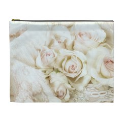 Pastel Roses Antique Vintage Cosmetic Bag (xl)