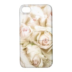 Pastel Roses Antique Vintage Apple Iphone 4/4s Hardshell Case With Stand by Celenk