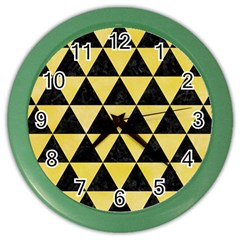 Triangle3 Black Marble & Yellow Watercolor Color Wall Clocks by trendistuff