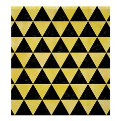 Triangle3 Black Marble & Yellow Watercolor Shower Curtain 66  X 72  (large)  by trendistuff