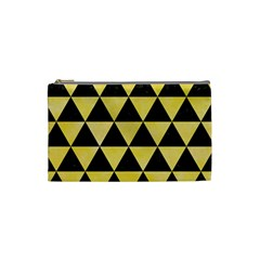 Triangle3 Black Marble & Yellow Watercolor Cosmetic Bag (small)  by trendistuff