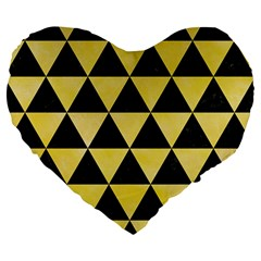 Triangle3 Black Marble & Yellow Watercolor Large 19  Premium Flano Heart Shape Cushions by trendistuff
