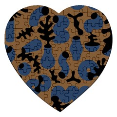 Superfiction Object Blue Black Brown Pattern Jigsaw Puzzle (heart) by Mariart