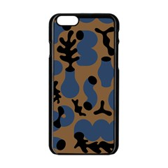 Superfiction Object Blue Black Brown Pattern Apple Iphone 6/6s Black Enamel Case by Mariart