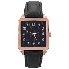 Tree Christmas Rose Gold Leather Watch  by Mariart