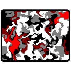 Vector Red Black White Camo Advance Fleece Blanket (large)  by Mariart