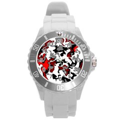 Vector Red Black White Camo Advance Round Plastic Sport Watch (l) by Mariart