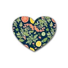 Summer Fruite Orange Lemmon Tomato Rubber Coaster (heart)