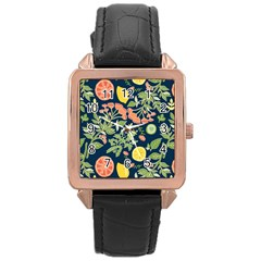 Summer Fruite Orange Lemmon Tomato Rose Gold Leather Watch  by Mariart