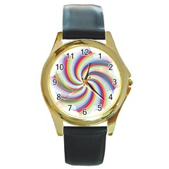 Prismatic Hole Rainbow Round Gold Metal Watch by Mariart