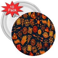 Tribal Ethnic Blue Gold Culture 3  Buttons (10 Pack)  by Mariart
