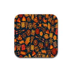 Tribal Ethnic Blue Gold Culture Rubber Square Coaster (4 Pack)  by Mariart