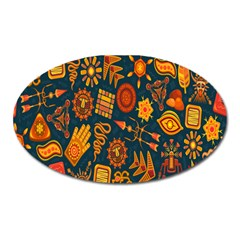 Tribal Ethnic Blue Gold Culture Oval Magnet by Mariart
