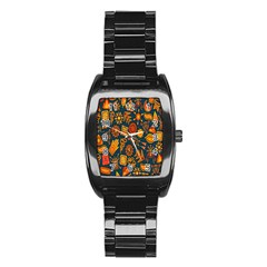 Tribal Ethnic Blue Gold Culture Stainless Steel Barrel Watch by Mariart