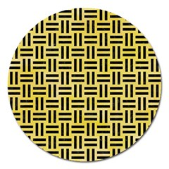 Woven1 Black Marble & Yellow Watercolor Magnet 5  (round) by trendistuff