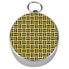 Woven1 Black Marble & Yellow Watercolor Silver Compasses by trendistuff