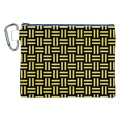 Woven1 Black Marble & Yellow Watercolor (r) Canvas Cosmetic Bag (xxl) by trendistuff