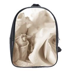 Vintage Rose Shabby Chic Background School Bag (xl) by Celenk