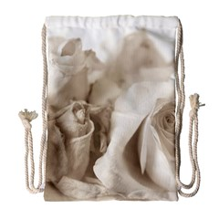 Vintage Rose Shabby Chic Background Drawstring Bag (large)