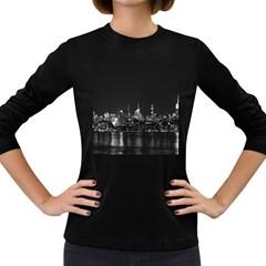 New York Skyline Women s Long Sleeve Dark T Shirts